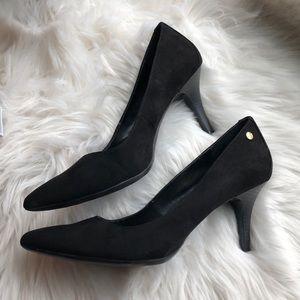 """Calvin Klein Black Suede Heels 3"""" Size 9"""
